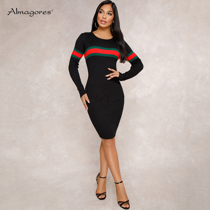 feab14b0098 High Quality Knitted Long Sleeve Bodycon Dress Women Vintage Vestidos  Autumn Winter Elegant Sweater Dress Black