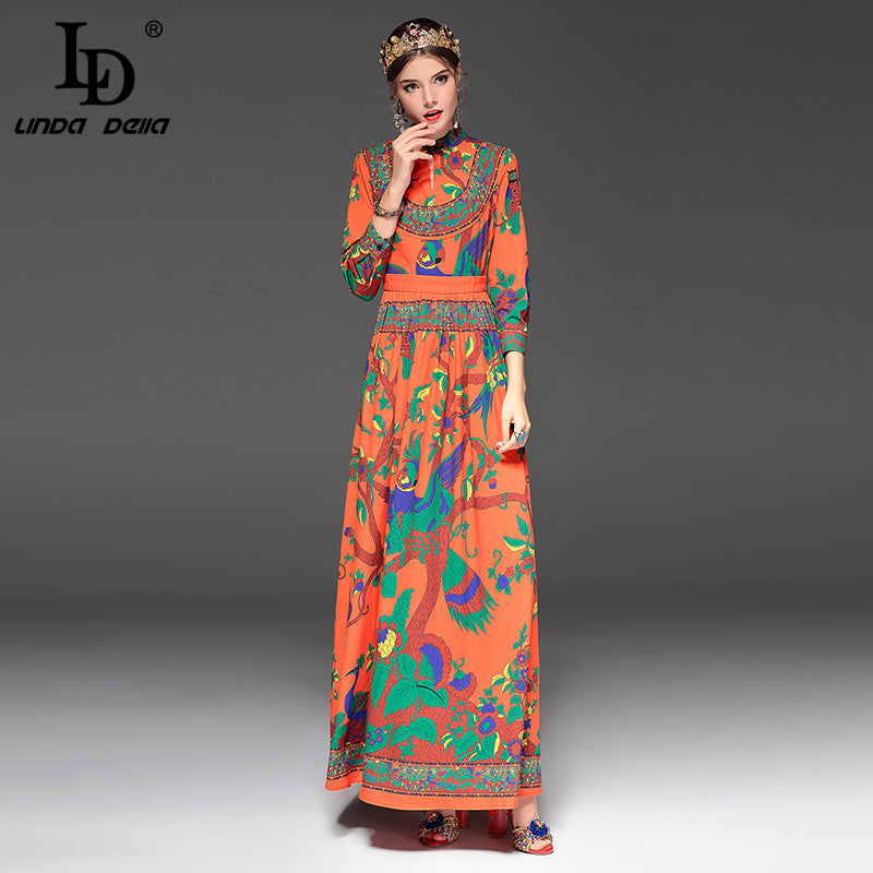 ... High Quality New 2017 Fashion Designer Runway Maxi Dress Women s Long  Sleeve Floral Print Ethnic Vintage a7b744c2fe2c