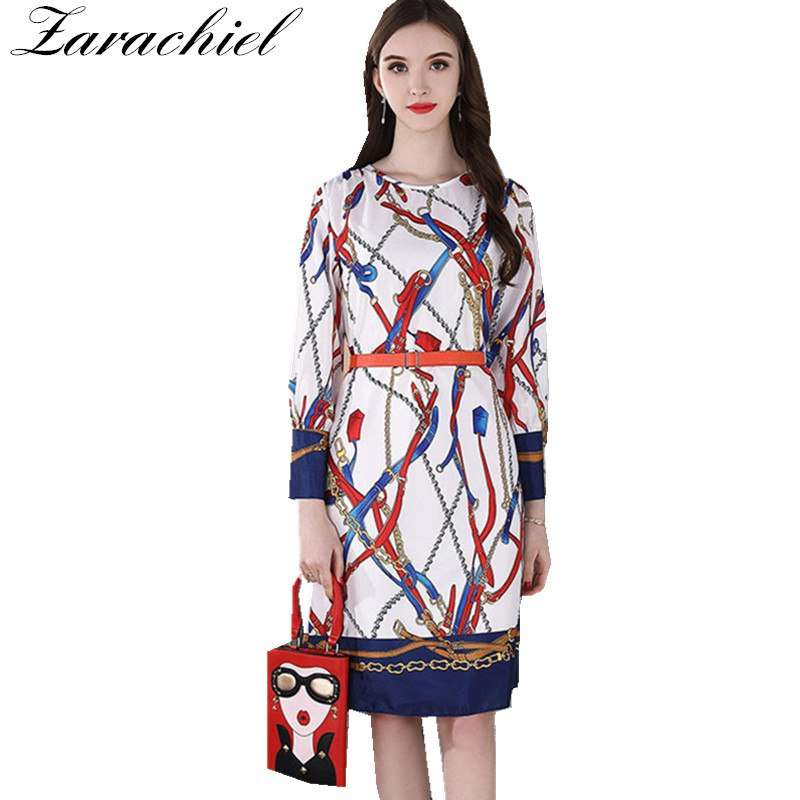 d36859b6939c2 High Quality New 2018 Designer Runway Dress Women's Long Sleeve O Neck  Chain Printing Sashes Casual Office A Line Dress Vestidos