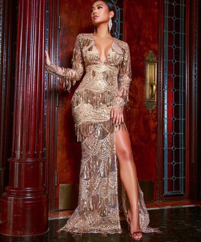 Image of High Quality  Sexy Women Beading V-Neck Open Fork Gold Rayon Elegant Homecoming Elegant Evening Party Dress