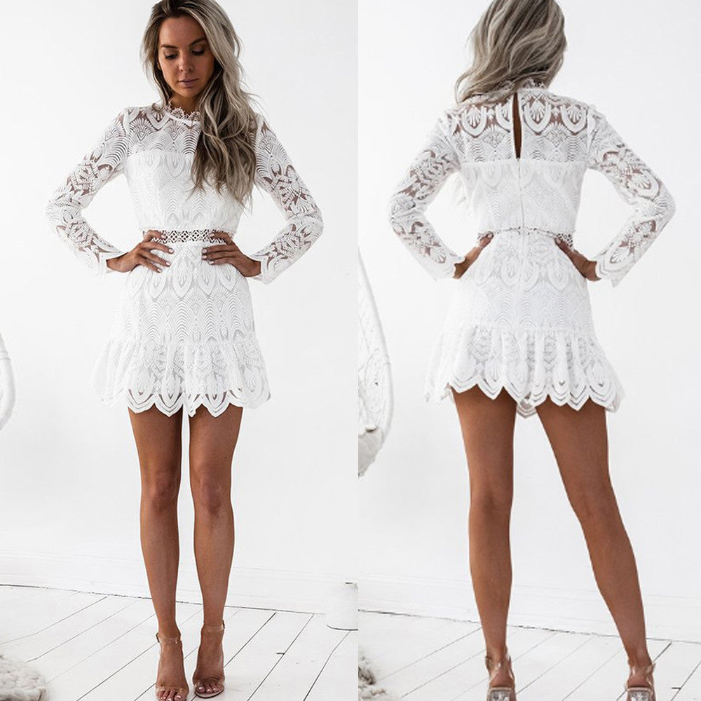 65585073ee ... High Quality Women 2018 New Sexy Fashion Autumn Sleeveless Evening  Party Women s Lace Long Sleeve Party