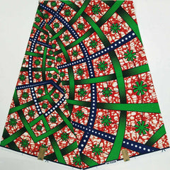 High Quality green & red African prints fabric veritable dutch wax real hollandais wax Nigerian style 6 yards 100% cotton AS031
