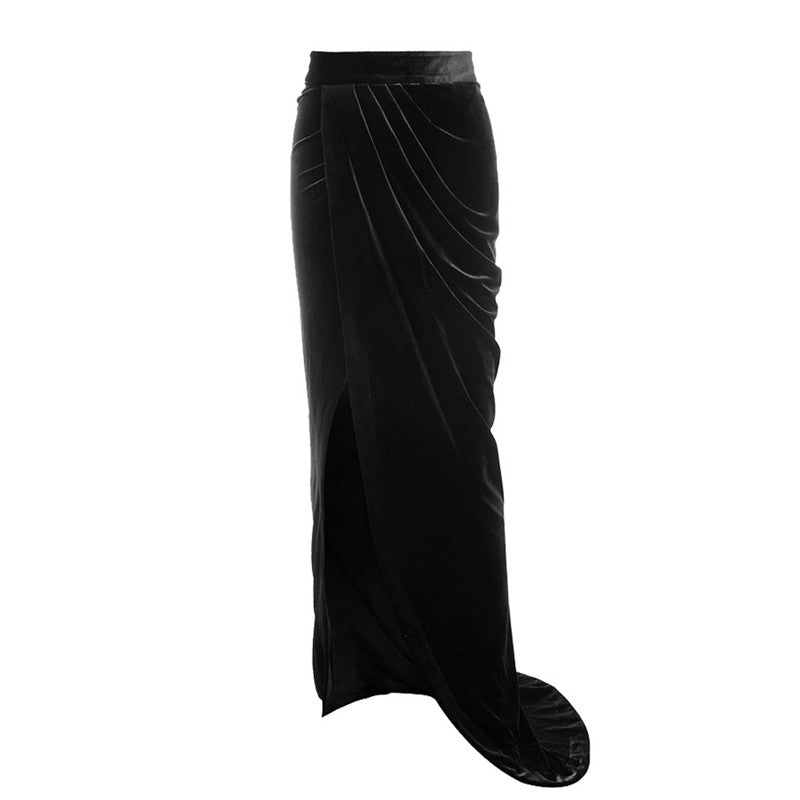 230c79e7f Hover to zoom · High Split Velvet Skirt Women Sexy Bandage Maxi Skirt 2018  Spring Winter High Waist Vintage Asymmetrical