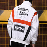 High Street Spring Autumn jacket brand hip hop wind retro letter stitching hit color coat men trend hip-hop student thin L177