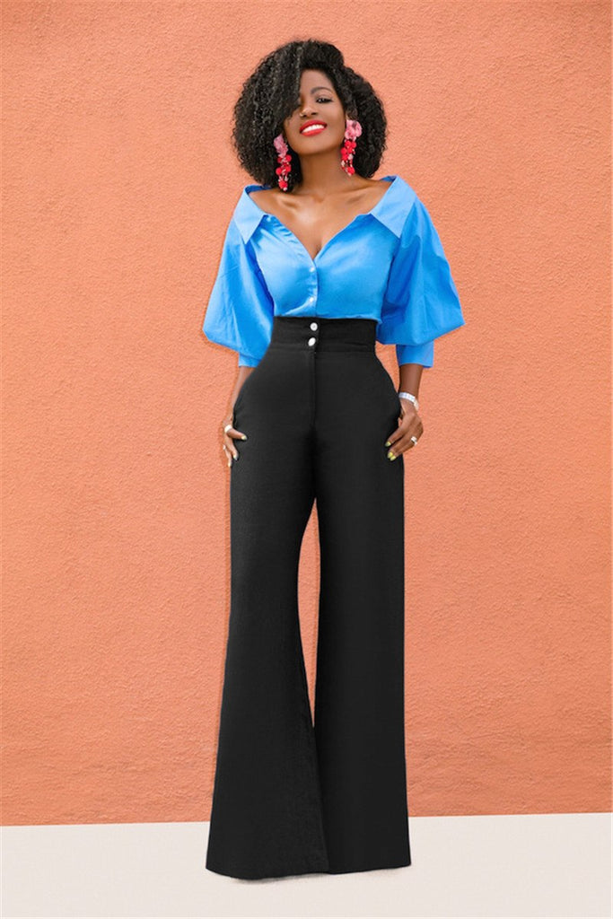 2abef3eeb9d0ae High Waist Wide Leg Pants Trousers Women Fashion Summer Loose Casual Office Pants  Slacks for Women. Hover to zoom