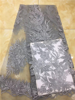 High-end Nigerian 3D wedding lace fabric grey latest African lace, French lace fabric 2018, dubai sequined dress X01