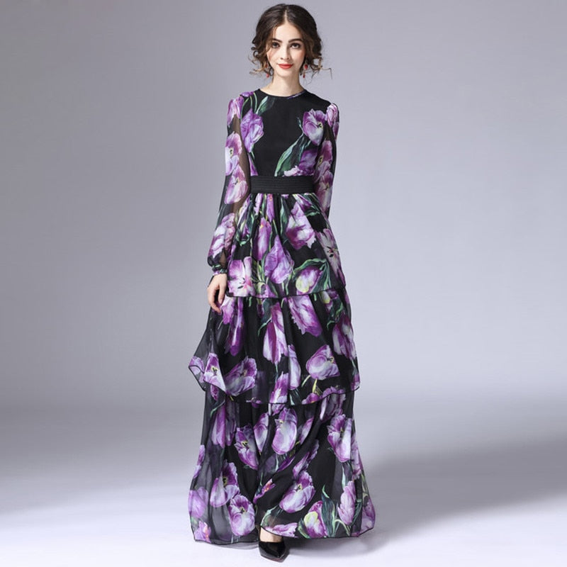 5ed8bd1ee4335 High quality New Fashion 2017 Runway Maxi Dress Women's Long Sleeve Vintage  Tiered Tulip Floral Printed Long Dress