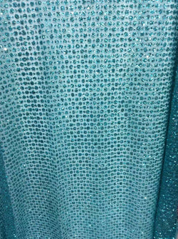 High quality glitter lace/ crystal fabric for nigerian wedding dresses with stones in green color 5yard