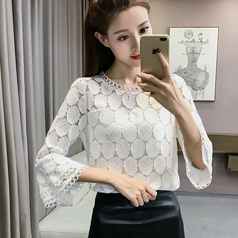 c1ad237d763c ... High quality hollow out Cropped Women lace blouse Short Sleeve chiffon  shirts round neck Casual ruffle ...