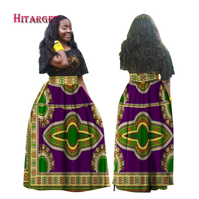 d38c34b3191 Hover to zoom · Hitarget 2019 Women African Traditional Print Long Skirt  Clothing Ankara ...