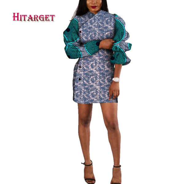 Hitarget African Ladies Short dashiki Sexy Dresses for Women ankara wax Print Women Autumn Sleeveless Dress Clothing   WY4571