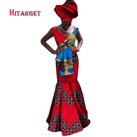 Hitarget Danshiki African Dresses for Women African Print Clothing Sleeveless with V-neck Sexy Maxi Dress Plus customized WY4181