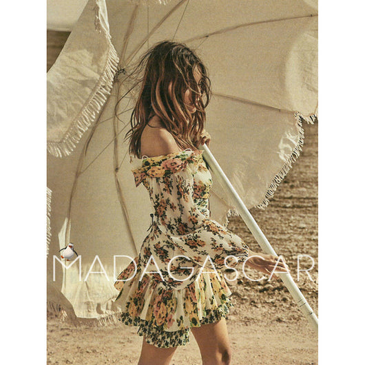 Holiday style Off-the-shoulder irregula rInterlaced folds Golden Surfer floral print cutout Leakage waist Sexy mini dress