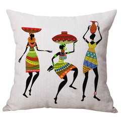 Home Decoration, Beautiful African Women Ethnic style Art images Linen Pillow Cover Car Cushion Sofa Pillow woman#2