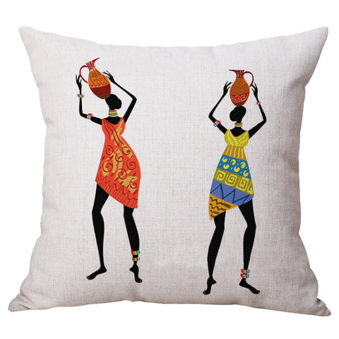 Home Decoration, Beautiful African Women Ethnic style Art images Linen Throw  Pillow Cover Car Cushion Sofa Pillow woman#4