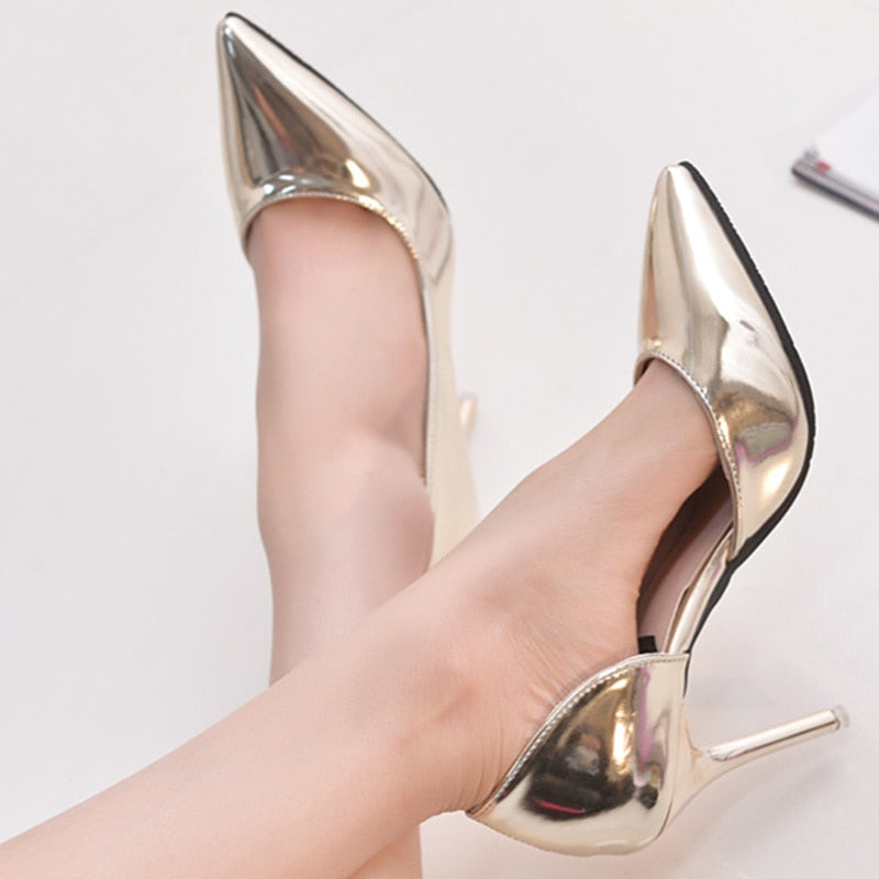 Pumps 9cm Women Sexy Heels Autumn Spring 2018 Wedding Party Gold Shoes High Silver Toe Hot Fashion Pointed 0O8XNwPkn
