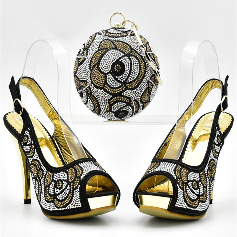 ... Hot Artist Italian Shoes With Matching Bags Decorated With Rhinestone  African Wedding Shoes And Purse Set ... a2e3cc9a972b