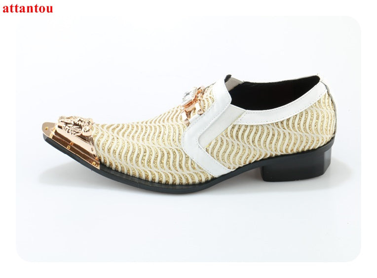 7452f12b6bd2 Hot Sale 2018 Pointed Toe Men Dress Shoes Genuine Leather Gloden Male Flats  Bling Bling Crystal ...