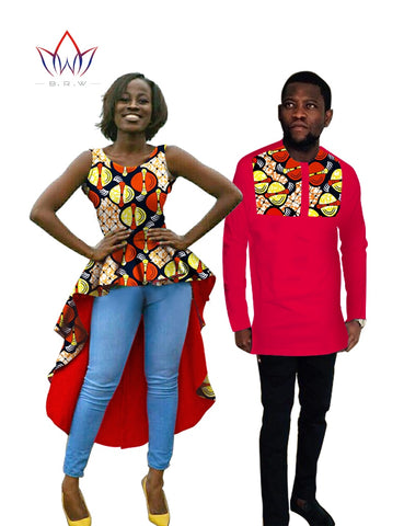 Hot Sale Couple Clothes Women Men Dress  traditional african clothing Dress Shirt afrikaanse kleding voor vrouwen bazin BRWYQ03