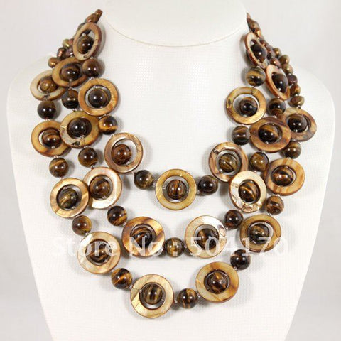 Hot Sale Round Natural Tiger Eye Stone Necklace 3 Strands Mother Pearls Loops Necklace Wedding Jewelry GS011