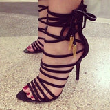 Women Lace Up High Heels Pumps Black Shoes Woman Open Toe Strappy Gladiator Sandals