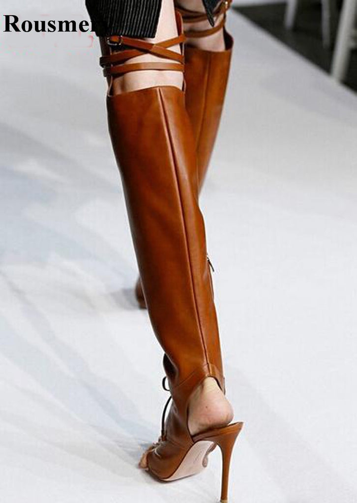 64131133b08 Hot Sale Women Fashion Open Toe Clip Toe Over Knee Gladiator Boots Lace-up  Buckle Design Cut-out High Heel Boots Dress Shoes