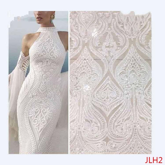 Hot Sale french lace african sequins lace fabric white high quality african tulle lace fabric Ivory vestido de noiva JLH2