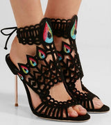 Hot Selling Crystal-embellished Sandals Cutout Suede Ankle Tie Laser-cut Thin Heel Dress Shoes For Women Gladiator Sandals