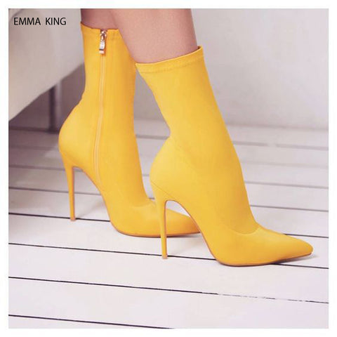 Hot Selling Spring Autumn Ankle Boots for Women Zapatos De Mujer Suede Pointed Toe High Heels Side Zipper Short Shoes Woman