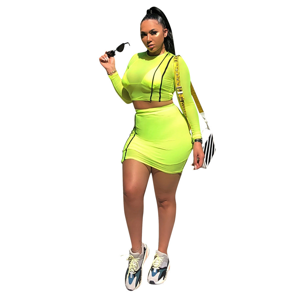94922297896 Hot recommend style women tracksuit two piece crop top and skirt set ...