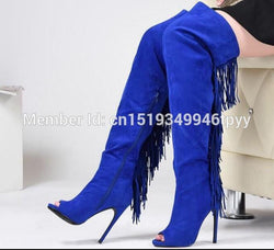 Hot sale Women Thigh High Boots Peep Toe High Heels Fringe Tassel Boots  Fashion Women Shoes