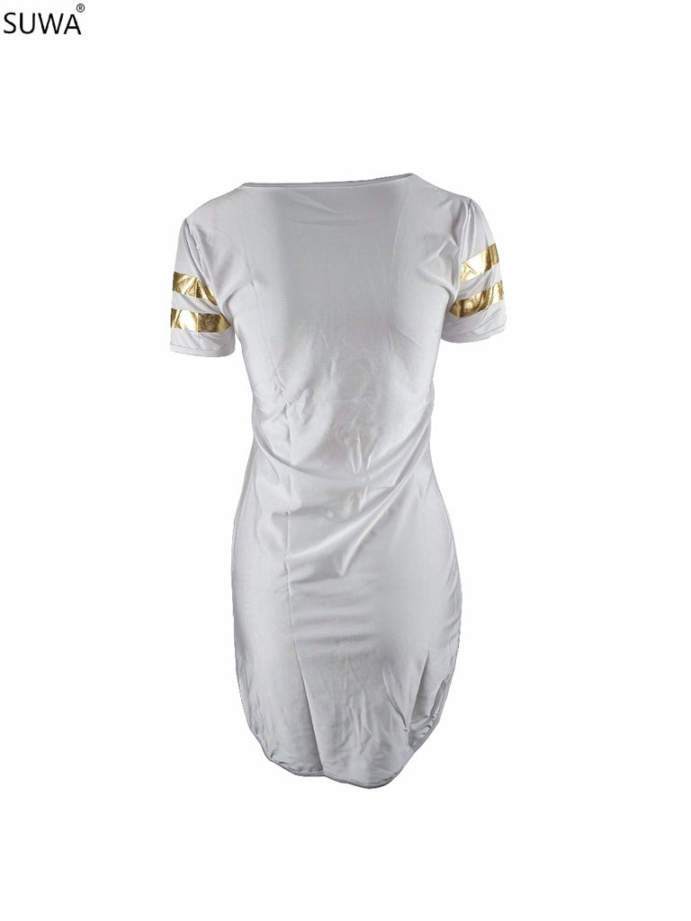 019ea984c5 ... Hot selling o neck sequin dress women short sleeve summer sexy mini  dress big plus size