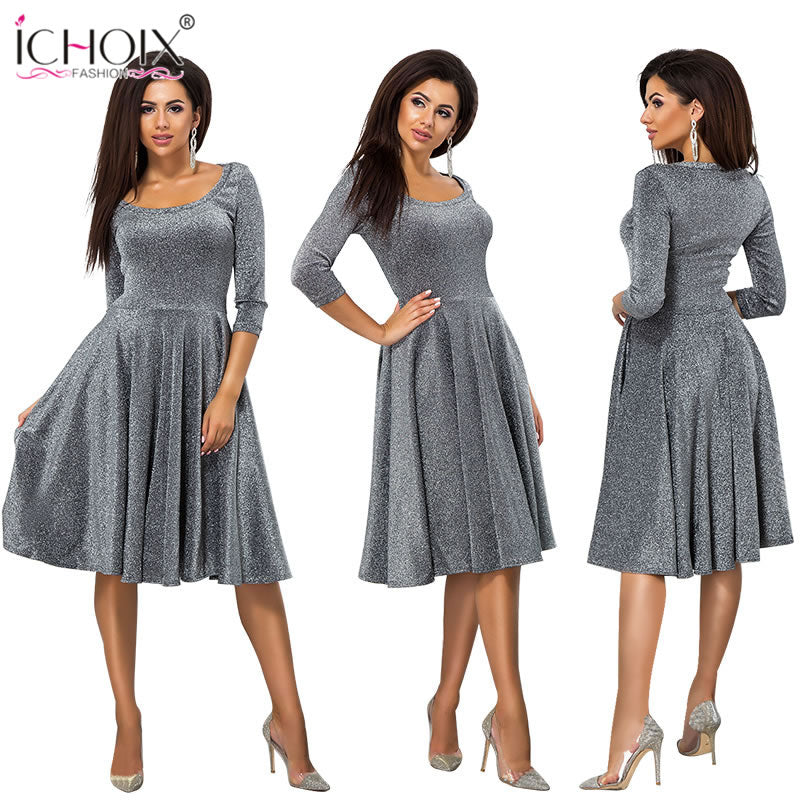 af08149b1c9cd Hover to zoom · ICHOIX women clothes 2018 fashion autumn winter dress sexy  party dress elegant tube long sleeve ladies