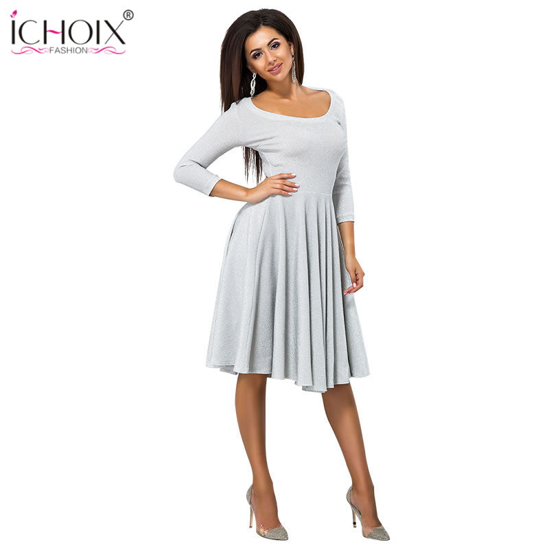 7c2ab19bebd ... ICHOIX women clothes 2018 fashion autumn winter dress sexy party dress  elegant tube long sleeve ladies ...