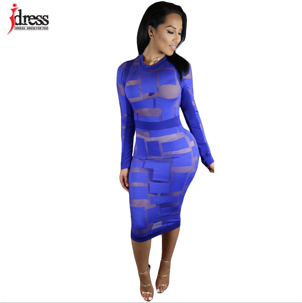 7c4fcc61086 ... IDress Autumn Winter Women Black White Blue Sexy Club Bodycon Dress  Sheer Mesh Patchwork Vintage Long ...