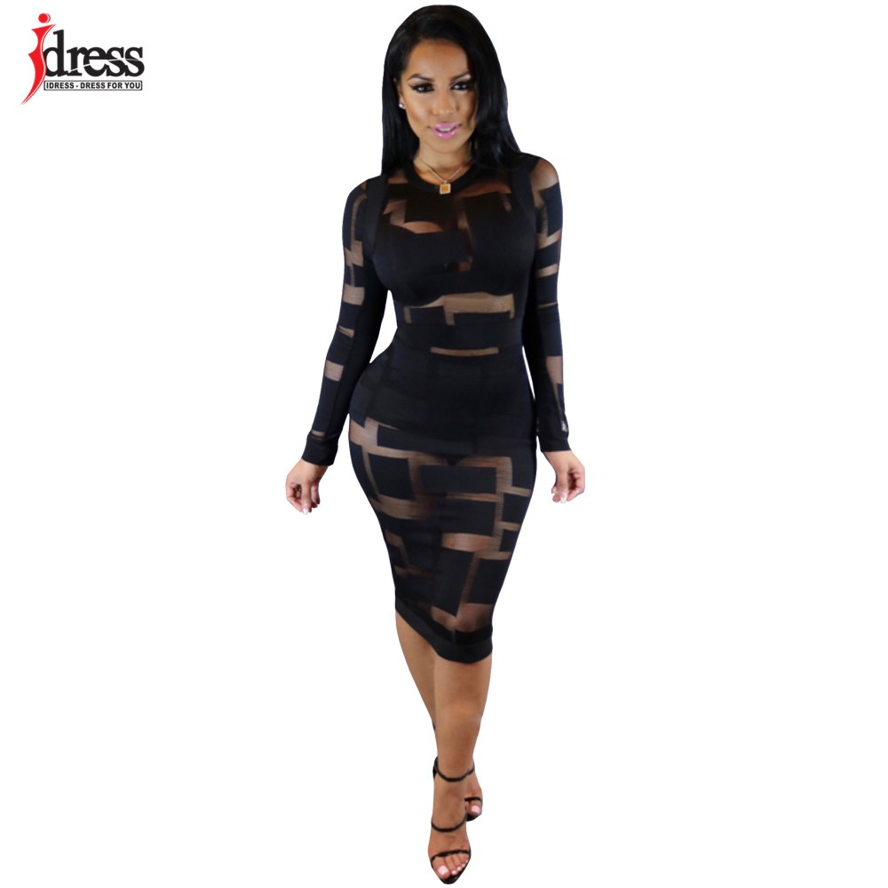 a30cb7d69 Hover to zoom · IDress Black Blue Sexy See Through Mesh Dress Cheap Clothes  China Fashion 2017 Evening Party Bodycon