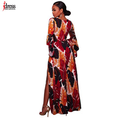 8e59c32a4c ... IDress Fashion Latex Sexy Clubwear Party Floral Print High Split  Overlay Maxi Long V-Neck