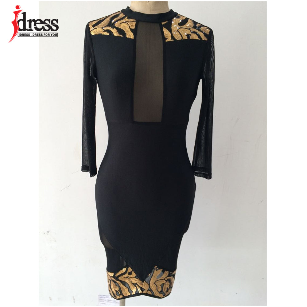 ... IDress Winter Women Black Sexy Club Bodycon Dress Sheer Mesh Patchwork Sequined  Dress Vintage Long Sleeve ... 2d9b2feb5e65