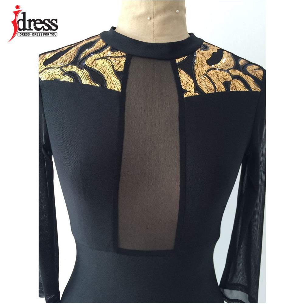 ... IDress Winter Women Black Sexy Club Bodycon Dress Sheer Mesh Patchwork Sequined  Dress Vintage Long Sleeve 9f27382185f7