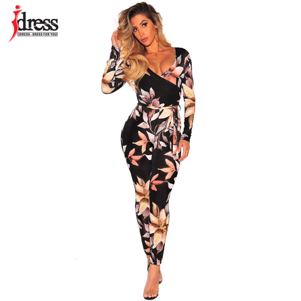 5309a2a7f4d ... IDress Womens Sexy Long Sleeve Printed V Neck Wrap Jumpsuit Sexy One  Piece Rompers Vintage Club ...
