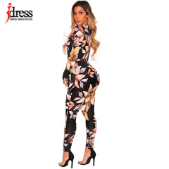 3048dd51b23 ... IDress Womens Sexy Long Sleeve Printed V Neck Wrap Jumpsuit Sexy One  Piece Rompers Vintage Club
