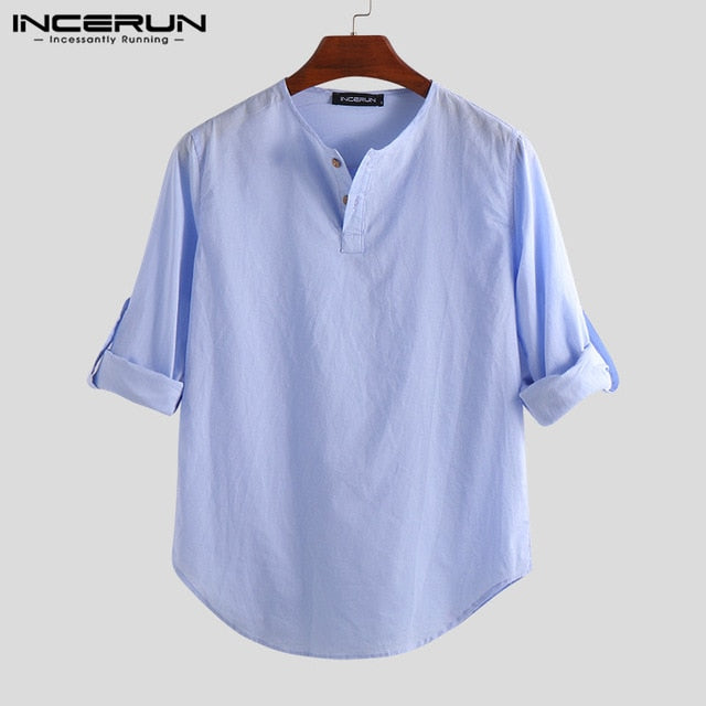 032c7fb65 INCERUN Men Shirt Cotton Linen Long Sleeve Casual Blouse Basic Shirt Men  Solid Slim Fit Fashion. Hover to zoom