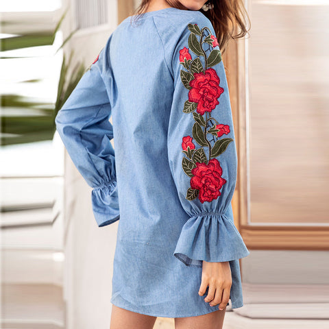 2a8cc8f6393a ... Image of ISHOWTIENDA Summer Embroidered Long Sleeve Denim Dress Women  Loose Straight Midi Dress 2018 V ...