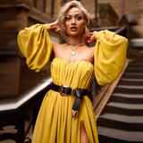 (Includes briefs)Ocstrade 2018 Summer Chiffon Off Shoulder Dress Sexy Mustard Bardot Bodycon Maxi Women Party Dress with Sleeves