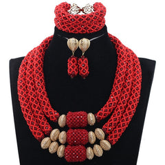Indian Crystal Red African Beads Statement Jewelry Sets Bib Necklace Set Women Event Party Jewelry Set Free Shipping ABH460
