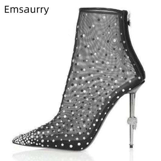 Individual Skull Metal Heel Ankle Boots Women Sexy Pointed Toe Crystal Air Mesh Runway Botas Mujer Rhinestone Decor Short Boots