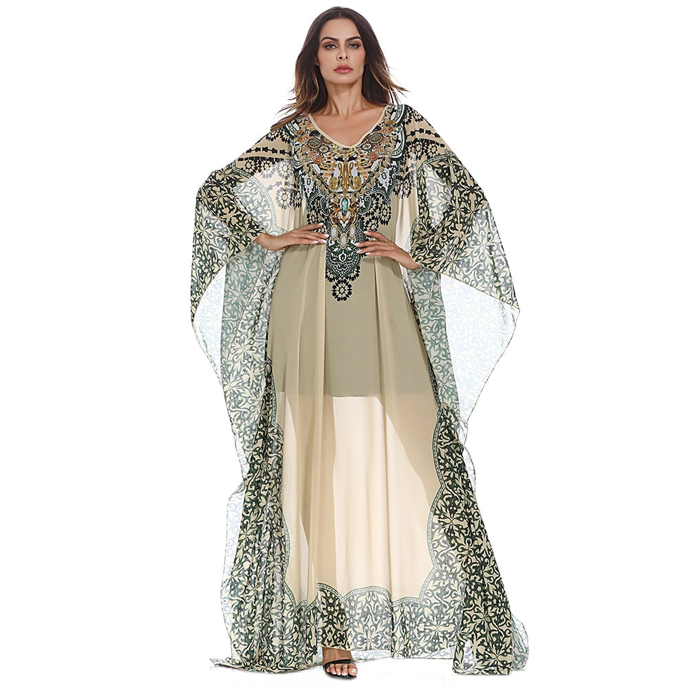 f139785746 ... Chiffon Batwing Sleeve Printed Turkey Clothes Dubai Long Gown Middle.  Hover to zoom