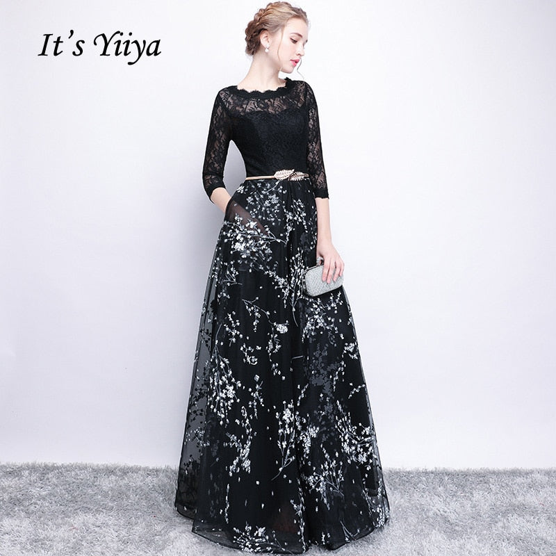 2bed822211cb It s YiiYa Half Sleeves Bow Floral Print Elegant Lace A-line Zipper Dinner  Party Frocks ...