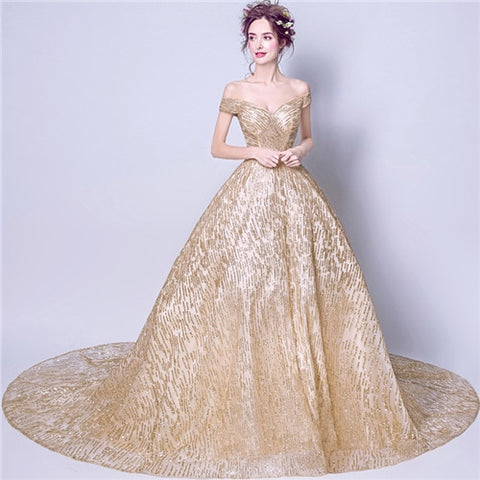 ca1b70d77a It's Yiiya Boat Neck Gold Luxury Evening Dresses Floral Bling Sequined  Fashion Designer Floor Length Formal Dress LX296