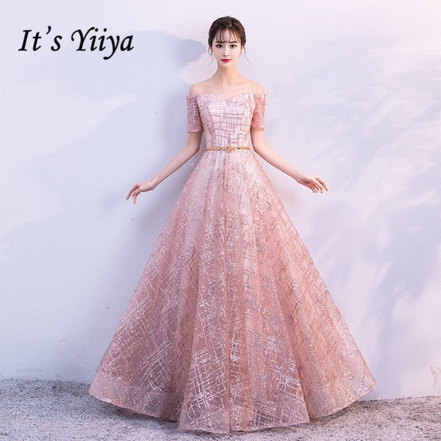 f8633e4f8a085 It's Yiiya Luxury Boat Neck Off The Shoulder Bling Sequined Lace Up Evening  Dresses Backless Floor Length Party Gown MX011